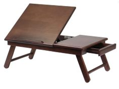 Folding Wood Laptop Desk by Winsome Wood | Organize.com Sweet! Actually appears to have room for laptop, graphics tablet/writing area, and a drawer! Wonder if legs are tall enough to adequately accommodate pillows and blankets used to prop up sore spots...