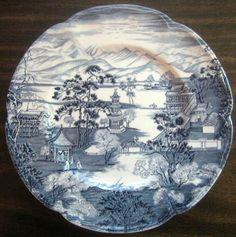 Decorative Dishes - Blue White Chinoiserie Pagoda Girl Bridge Exotic Vtg Plate L, $29.99 (http://www.decorativedishes.net/blue-white-chinoiserie-pagoda-girl-bridge-exotic-vtg-plate-l/)