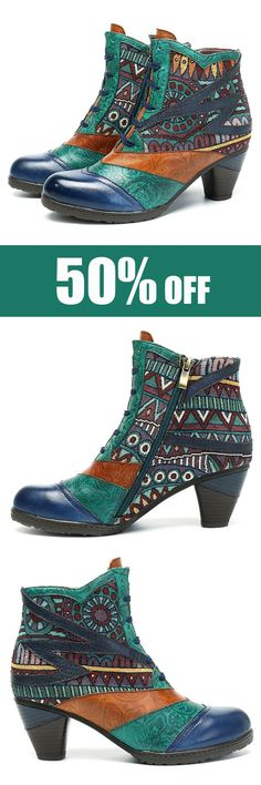 SOCOFY Bohemian Splicing Pattern Block Zipper Ankle Leather Boots. #womens #boots #fashion