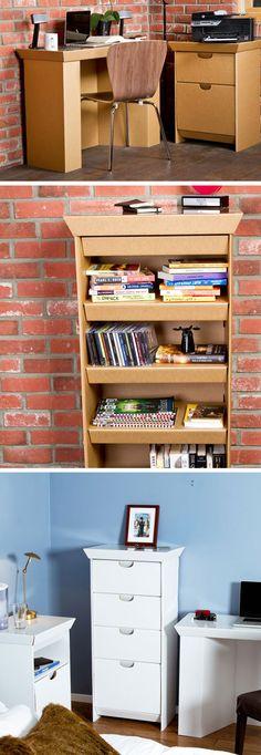 Moveis de papelão Cardboard Recycling, Cardboard Cartons, Cardboard Paper, Cardboard Furniture, Cardboard Crafts, Cardboard Wardrobe, Furniture Making, Diy Furniture, Diy Storage Boxes