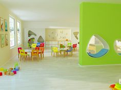 rainbow kindergarten interior design by kristiana cvetanova, via Behance