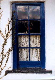Irish Cottage Window; cottage, Irish, window. I bought lace panels in Scotland so I could replicate this look.