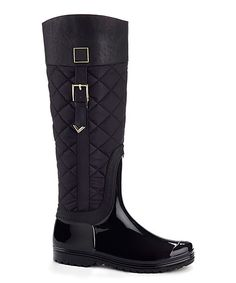 Black Quilted Rain Boot