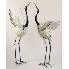 Garden Crane Statue Pair Coastal Metal Bird Yard Art Backyard Sculpture  Outdoor