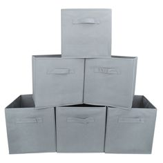 Amazon.com: Set of 6 Foldable Fabric Basket Bin- EZOWare Collapsible Storage Cube For Nursery Home and Office - Gray: Home & Kitchen