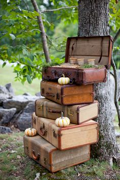 Vintage Suitcases, no table necessary, in the event of rain could be moved inside easily. Still have table inside tent for guest book, display like this for cocktail Hour maybe and then move inside for reception just the top piece with the envelopes.