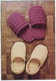 Crochet slippers - Tutorial....  The website's in Italian, but the pattern is in English