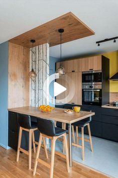 Cuisine ouverte sur salon réussie : 20 astuces - Clem Around The Corner - Home Decor Kitchen Room Design, Modern Kitchen Design, Home Decor Kitchen, Interior Design Kitchen, Kitchen Furniture, Home Kitchens, Kitchen Ideas, Diy Kitchen, Minimalist Kitchen