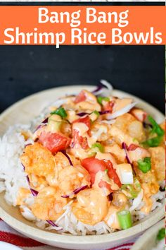 grilled shrimp Bang Bang Shrimp Rice Bowls are easy and delicious! With the signature Bonefish Grill Bang Bang sauce, and fresh crunchy toppings, it's the perfect meal! Also directions Shrimp And Rice Recipes, Rice Recipes For Dinner, Shrimp Dishes, Tofu Recipes, Seafood Recipes, Asian Recipes, Cooking Recipes, Healthy Recipes, Bonefish Grill Recipes