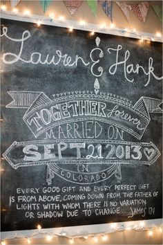 chalkboard wedding sign ideas #twinklelights #weddingsings #weddingchicks http://www.weddingchicks.com/2013/12/18/colorado-wedding/