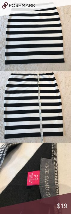 Vince Camuto Stripe Stretch Skirt Black and white Sz Petite Small, stretch skirt Vince Camuto Skirts