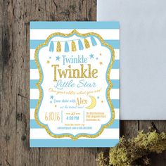 First birthday invitation boys twinkle twinkle by customedgestudio