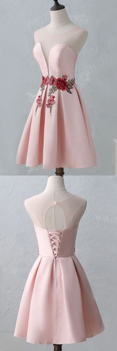pink sweet lace-up homecoming dresses. short open back homecoming dresses