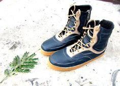 blue cream leather boots navy handmade shoes by MarapulaiClothing