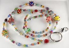 Beaded Lanyard CARNIVAL Glass Beaded ID Badge Holder by curlynetto for $22.00