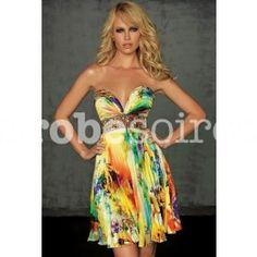 Pauline - robe de soirée imprimée fleurie plissée 11107