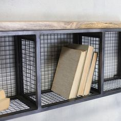 This useful wall shelf combines the industrial iron framework with the natural tactile mango wood. Perfect for holding books, ornaments or even clothing. There are three compartments each measuring 29 x 18 x Car Furniture, Metal Furniture, Industrial Furniture, Industrial Style, Industrial Office, Vintage Industrial, Industrial Design, Furniture Design, Tiny House Hotel