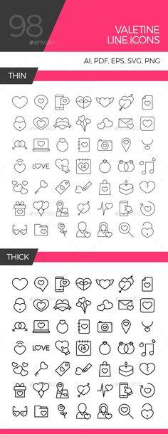 Valentine line icon set (Seasonal)