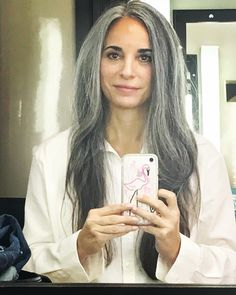 One of the perks of being a model/actress is seeing someone else's version of me. The makeup was done natural, really pretty and the hair… Dark Grey Hair, Long Gray Hair, Silver Grey Hair, Grey Hair Styles For Women, Natural Hair Styles, Long Hair Styles, Grey Hair Model, Silver Haired Beauties, Grey Hair Inspiration