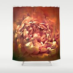 Blushing Rusted Flame Peony - Floral Shower Curtain by Jai Johnson - $68.00
