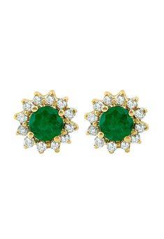 Effy Brasilica 14K Yellow Gold Emerald and Diamond Earrings, 0.72 TCW