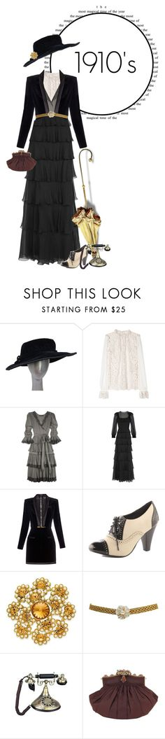 """""""1910's Fashion"""" by supercalifragilistica ❤ liked on Polyvore featuring Dolce&Gabbana, Valentino, Balmain, Dorothy Perkins, Charter Club, Chanel, gold, ruffle, historical and 1910"""