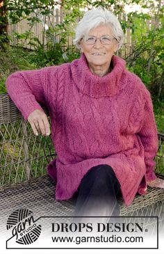 Warm Wine / DROPS 172-36 - Free knitting patterns by DROPS Design Drops Design, Knitting Patterns Free, Free Knitting, Crochet Woman, Knit Crochet, Garnstudio Drops, Warm Wine, Magazine Drops, Oversize Pullover