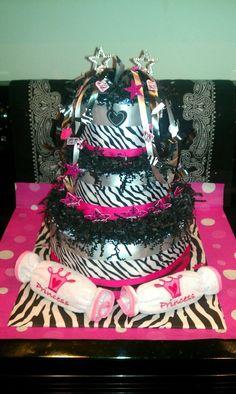 zebra/ hot pink cake