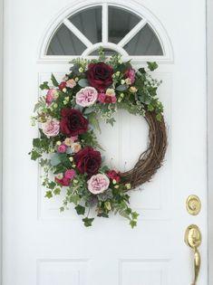 Summer Wreath-Spring Wreath-Summer Door Wreath-Garden Wreath-Wedding Wreath-Victorian Wreath-Elegant Wreath-Ivy Wreath-Summer Rose Wreath  This