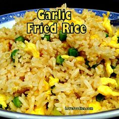 Make some delicious Garlic Fried Rice!  I make this often, it's quick, easy and of course super tasty! #Chinese #friedrice #garlic