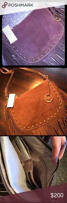 "NWT Michael Kors Dakota Fringe Saddle Bag 💯Auth 💯AUTHENTIC!! NWT Michael Kors Medium Coffee Dakota Saddle Bag 38F6XM3M3S 👜Gorgeous dark brown(coffee) suede w/ 8"" Fringe  👜Gold hardware & hang tag 👜Interior zip pocket & 4 additional pockets for organizing 👜13"" Long x 9"" High w/ 21"" Drop 👜WON'T LAST LONG, DO NOT REGRET PASSING IT BY!!!  👜I do not trade, please don't ask!! 👜No offers!! 👜Rude comments or comments abt price will not be tolerated!!!  Please feel free to ask…"