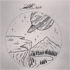 "68 Likes, 5 Comments - RØDEK BEAS (@the_rodek) on Instagram: ""Cosmic landscape #tattoo #tattoodesign #pointillism #dotwork #space #planet #landscapetattoo…"""