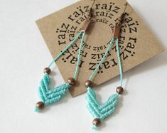 Chevron Earrings . Macrame Jewellery .Turquoise & Copper Textile Fiber Jewelry . Elegant Bohemian Hippie Chic Dainty . by raïz