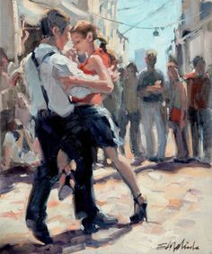 Street Passion - oil painting by E. Tango Art, Latino Art, Baile Latino, Dance Paintings, Flamenco Dancers, Danse Macabre, Salsa Dancing, Painting People, Street Dance