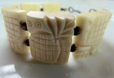 Pineapple Bones - Boho Bracelet of Carved Bone Vintage Beads with Brown Jasper Beads