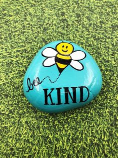 Rock Painting Ideas Discover Bee Kind Painted Rock Be Kind Stone Kindness Encouragement Rock Affirmation Stone Hand Painted Rock Christmas gift stocking stuffer Rock Painting Patterns, Rock Painting Ideas Easy, Rock Painting Designs, Easy Paint Designs, Easy Painting Projects, Rock Painting Supplies, Diy Projects, Pebble Painting, Pebble Art