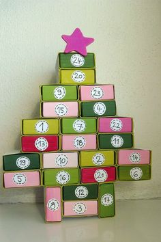 Advent calender made from match boxes Christmas Feeling, All Things Christmas, Christmas Holidays, Christmas Crafts, Advent Calendars For Kids, Diy Advent Calendar, Christmas Calendar, Christmas Countdown, Matchbox Crafts