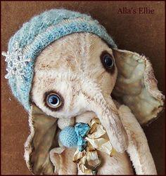 "by Alla Bears tiny 8.5"" inch original artist  Winter Wonderland Elephant Ellie art toy doll ooak Vintage baby Christmas on Etsy, $254.00"