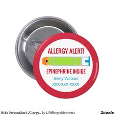 Kids Personalized Allergy Alert Epinephrine Inside Button