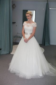 Lace, cap sleeve ballgown wedding dress  Exclusive from Modern Trousseau for Alta Moda. Their lace is gorgeous!!
