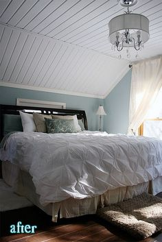 My mom's house has all three bedrooms with slanted ceilings like these. This is a great idea to make them more attractive.