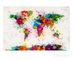 Weltkarte aus Farbspritzern Giclée-Premiumdruck von Michael Tompsett bei AllPosters.de