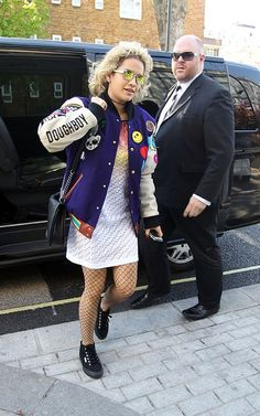 Hot-or-Hmm-Rita-Oras-London-Joyrich-Dee-and-Ricky-Fall-2012-Plush-Puff-Jacket-Ombre-Print-Dress-And-Fishnet-Tights