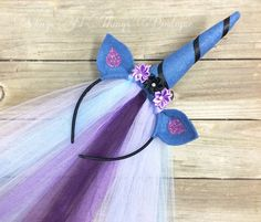 LUNA UNICORN HORN Princess Pony Headband w/ tulle veil, mlp character, nightmare moon, cosplay, hair accessory, girls, toddler, adult by wingsnthings13 on Etsy https://www.etsy.com/listing/473296149/luna-unicorn-horn-princess-pony-headband