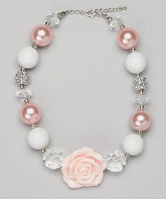 Take a look at this Pink & White Chunky Flower Necklace by Olivia Rae on #zulily today!