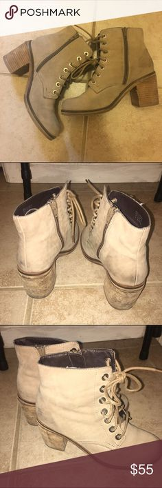 Moving Sale!! 💥 Aldo Lace Up Boots Excellent used condition | Shabby Distressed Taupe Color | Block Heel | 3.25 Heel | Retail $150 | No trades Aldo Shoes Lace Up Boots