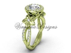 14kt yellow gold flower engagement ring VF301010