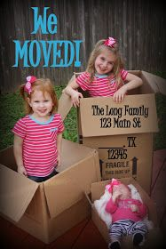 Moving announcement photo! I love the baby asleep in the box on the bottom right! #MovingAnnouncements