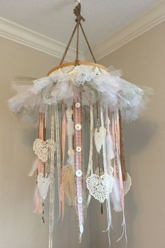 Shabby chic baby mobile with lace and buttons