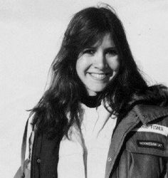 Carrie Fisher - young - long hair - Black and White